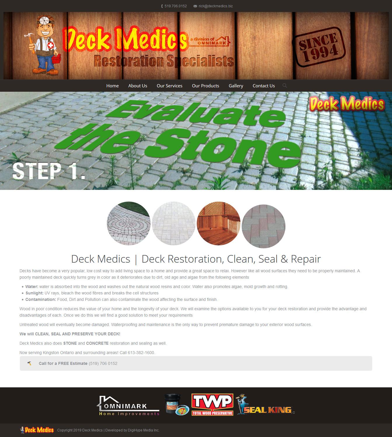 Deck repair and renovation in Ontario (website design mockup)