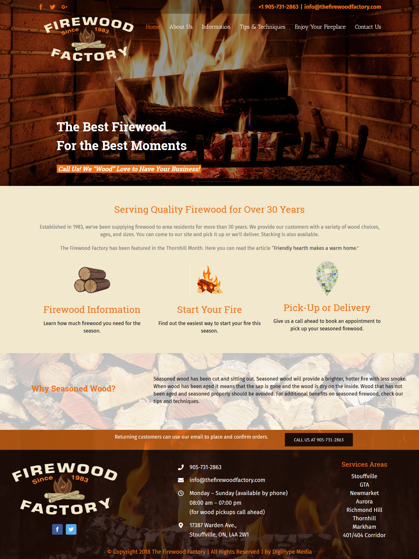 Firewood service in Ontario (UX custom website design in Mississauga)