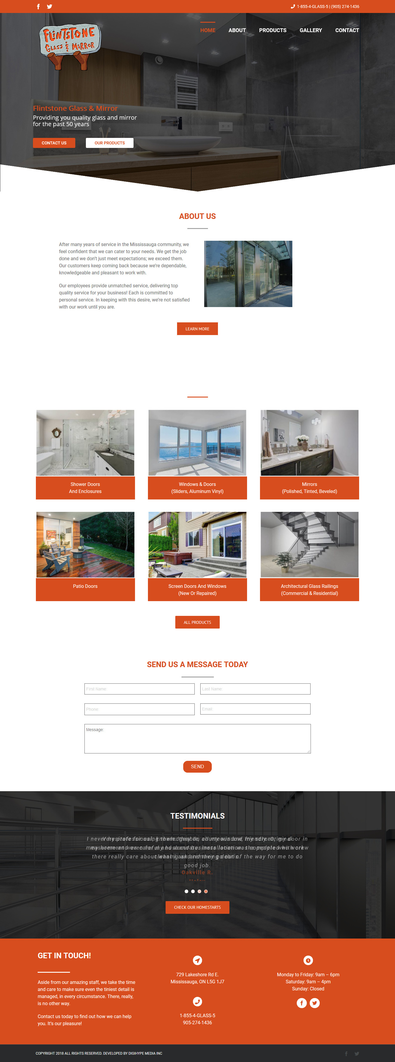 Glass and window repair in Mississauga (website design Mockup)
