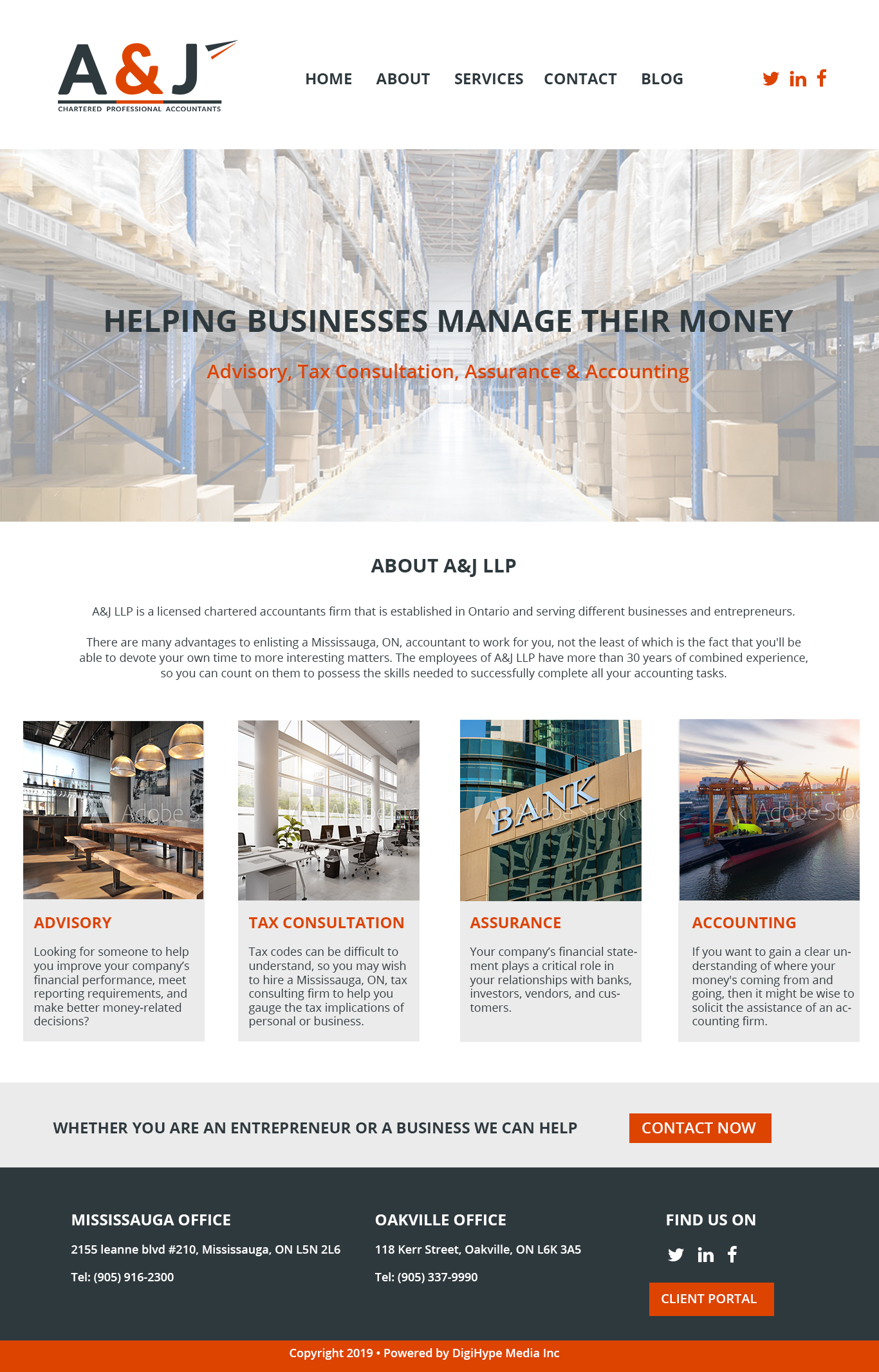 Accounting firm & Commercial Tax company in Mississauga (Website design Mockup)