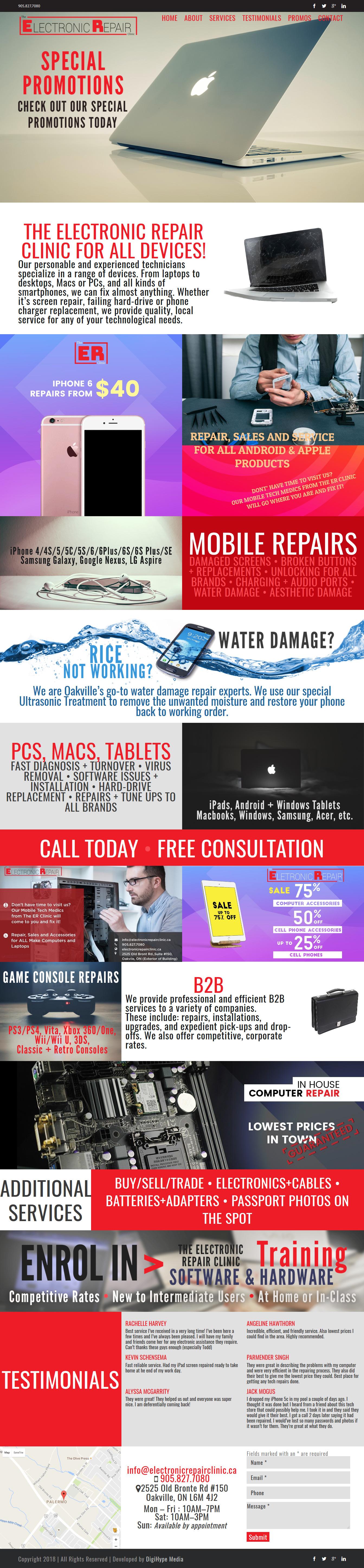 Tablet, phone and computer repair in Oakville (website development & website design mockup)