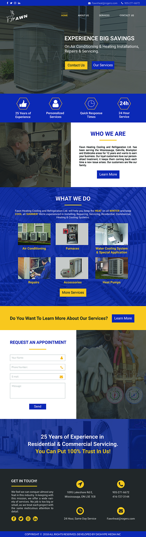 AC, HVAC and Heating Repair Company in Mississauga (Website design mockup)s