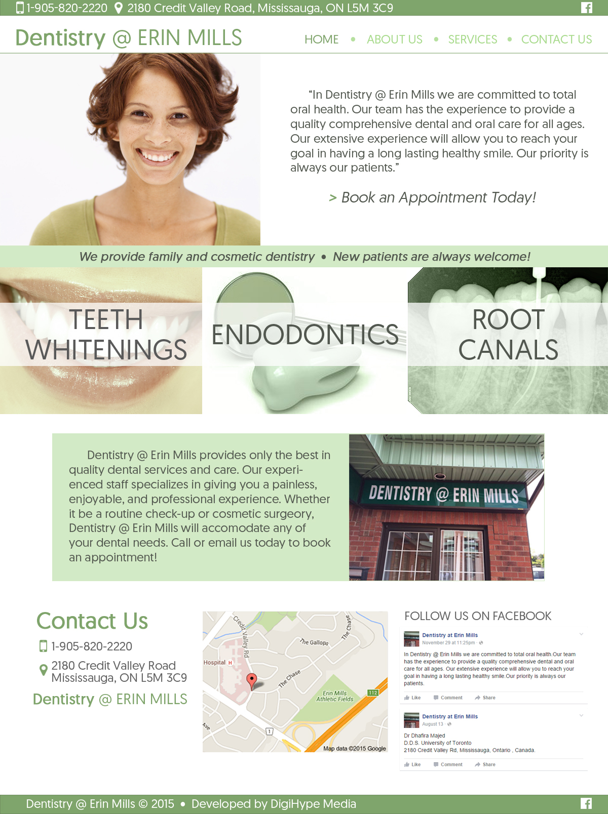 dentist and dental care clinic in Mississauga (Website Mockup design)